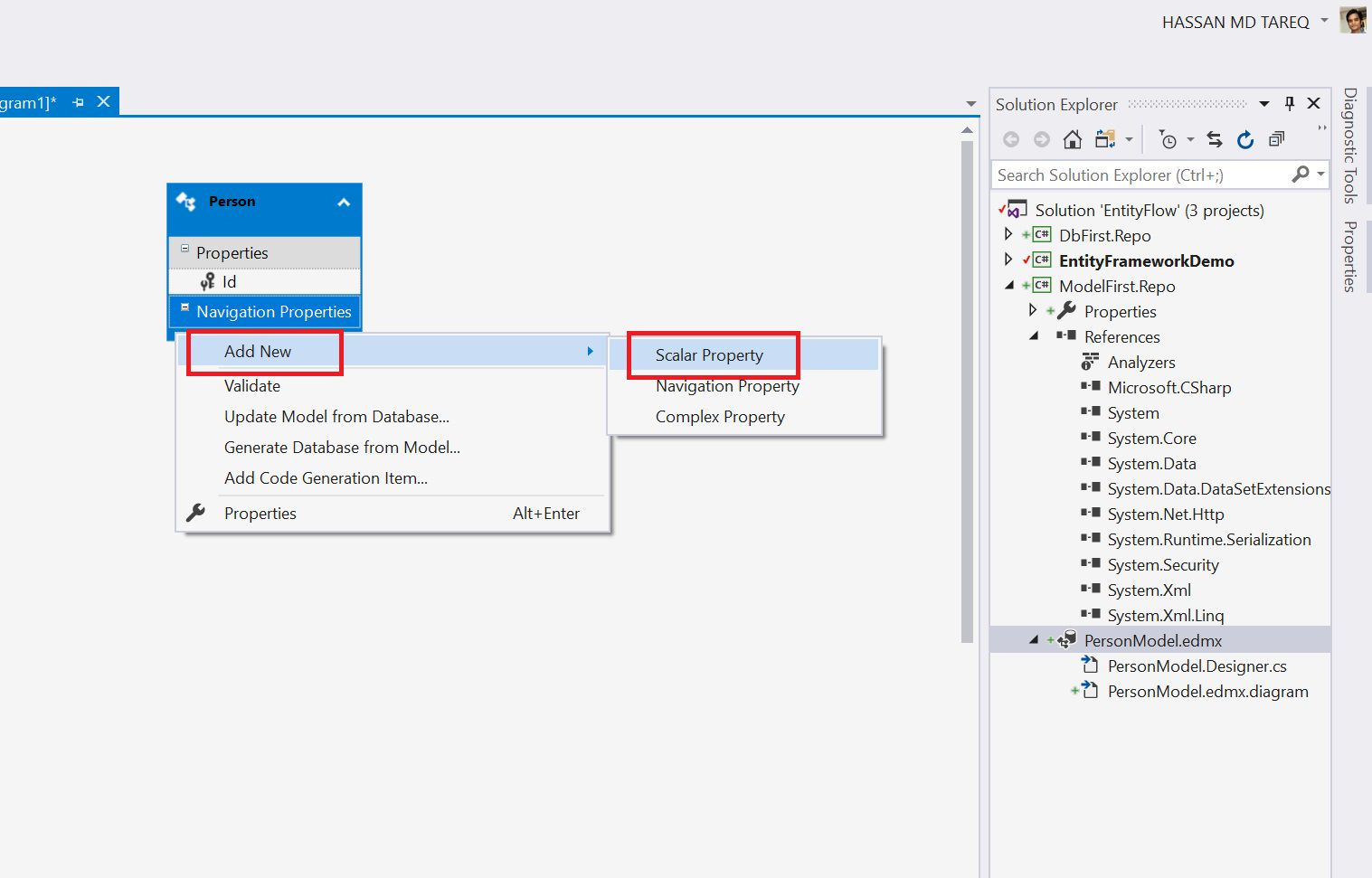 Entity Framework Model Fisrt Approach - Creating edmx Step 10